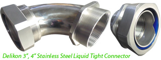"Delikon 3"", 4"" Stainless Steel Liquid Tight Connector with male or female threads,PG,M,G,NPT"