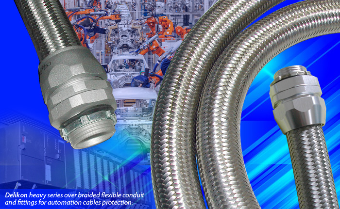 Delikon, experts in the manufacture of heavy series over braided flexible conduit and conduit fittings for industry automation power and data cables protection. Our flexible conduit systems offer reliable cable protection solutions for PLC, sensors, machining centers, industry robots and other demanding industrial applications.