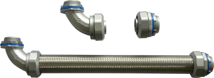 High strength metal over braided flexible liquidtight steel conduit