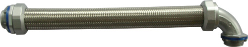Overbraided metallic LiquidTight conduit with stainless steel braid