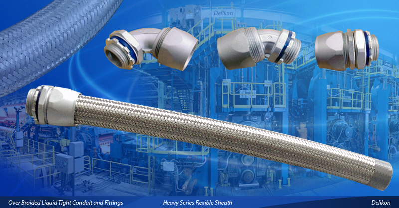 Heavy series over braided metal liquid tight conduit and fittings are suitable for industrial enviroments, expecially suitable for protections of machineries cables and wiring in wet and hazardous locations.