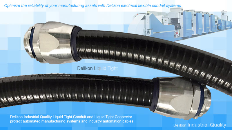 Optimize the reliability of your manufacturing assets with Delikon electrical flexible conduit systems. Introducing Delikon Industrial Quality Liquid Tight Conduit and Liquid Tight Connector.