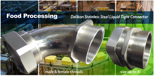 Delikon Stainless Steel Liquid Tight Connector for food processing industry cable protection