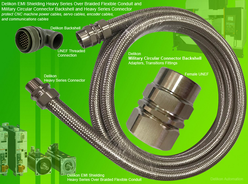 Delikon EMI Shielding Heavy Series Over Braided Flexible Conduit with Military Circular Connector Backshells, Adapters and Transitions Fittings