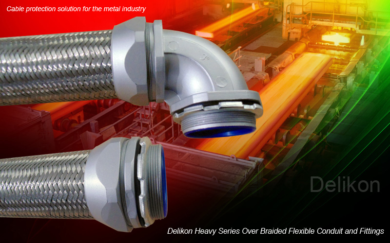 Delikon heavy series over braided flexible conduit and conduit fittings,cable protection solution for metal industry