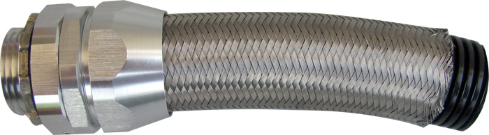 Over Braided Corrugated Nylon Flexible Conduit with Heavy Series Metal Fittings