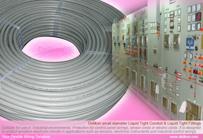 Delikon small diameter Liquid Tight Conduit and Liquid Tight Fittings for industry control room wiring