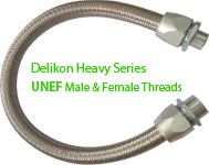 Delikon Heavy Series Over Braided Flexible Conduit and Connector with UNEF Male or Female Threads,Backshell