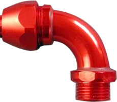 90 degrees Aluminum Connector for oil resistant over braided flexible rubber conduit. Oil resistant, liquid tight.