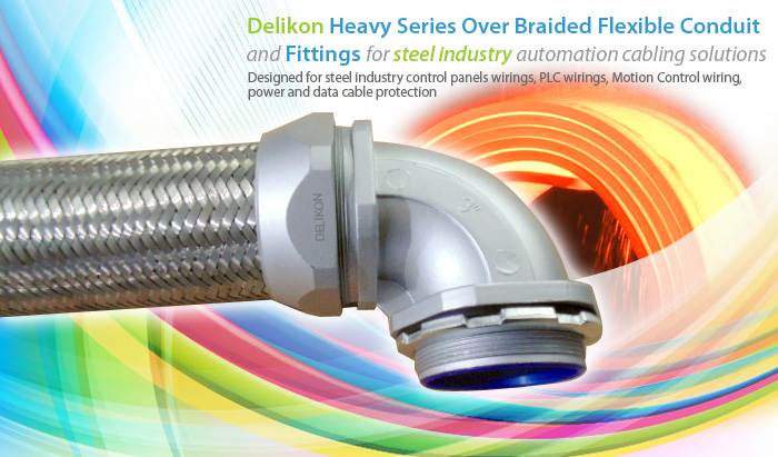 Delikon Heavy Series Over Braided Flexible Conduit,Conduit Connector for steel industry automation cabling solutions