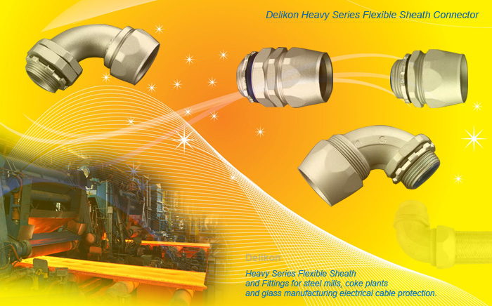 Heavy series over braided flexible conduit fittings for glass manufacturing cable protection